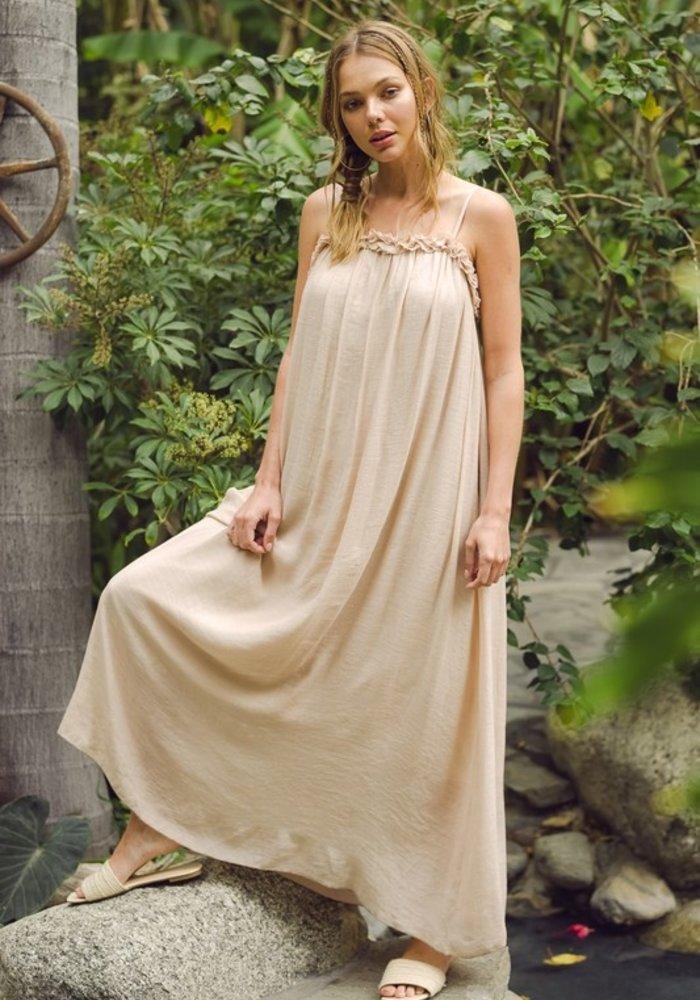 Ruffled Neckline Cami Maxi Dress