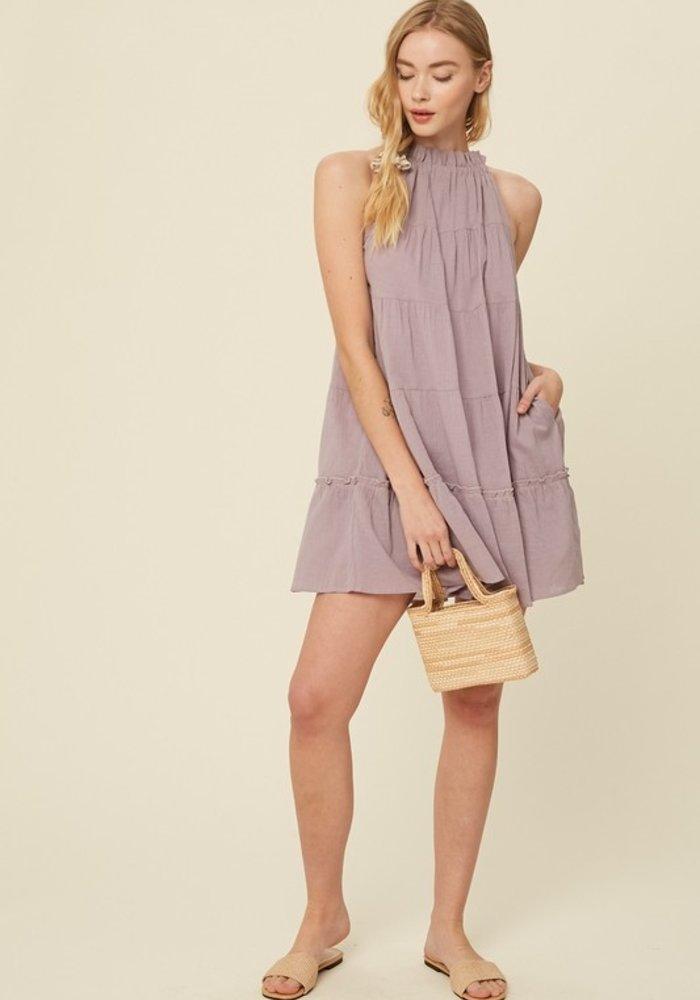 Lavender Tiered Halter Pocket Dress