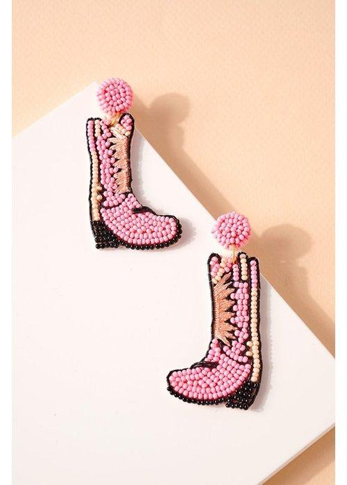Baby Pink Cowboy Boot Beaded Earrings