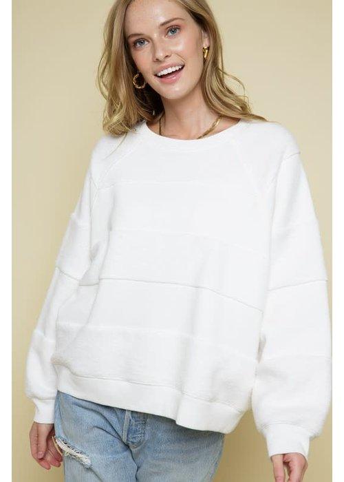 Tone-on-Tone Contrast Crewneck Sweater