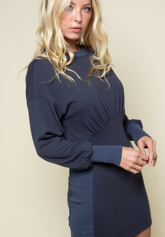 Navy Fitted Sweatshirt Dress