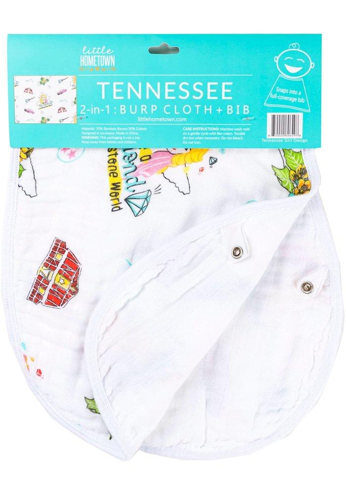 Tennessee Motif 2-in-1 Girl Burp Cloth/Bib