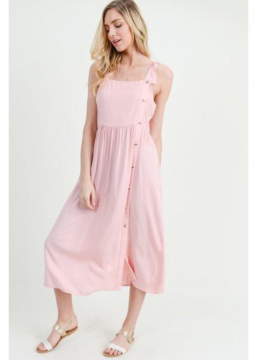Peach Tie-Strap Midi Dress