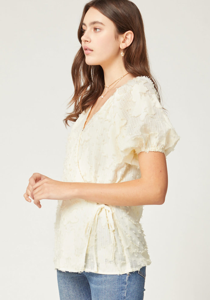 Frayed Lace Wrap Top