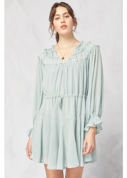 Seafoam Long Sleeve Ruffle Detail Dress