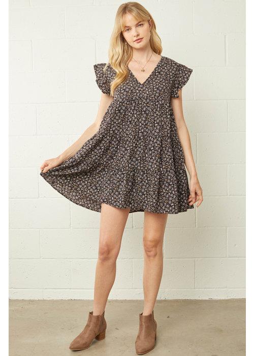 Black Floral Babydoll Pocket Dress