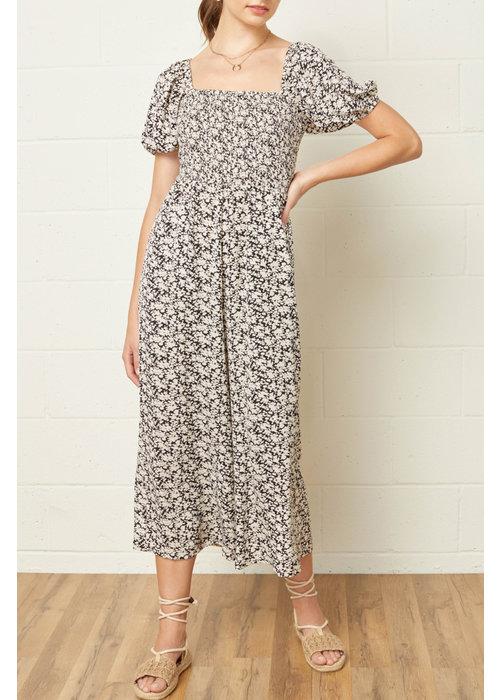 Floral Puff Sleeve Pocket Jumpsuit