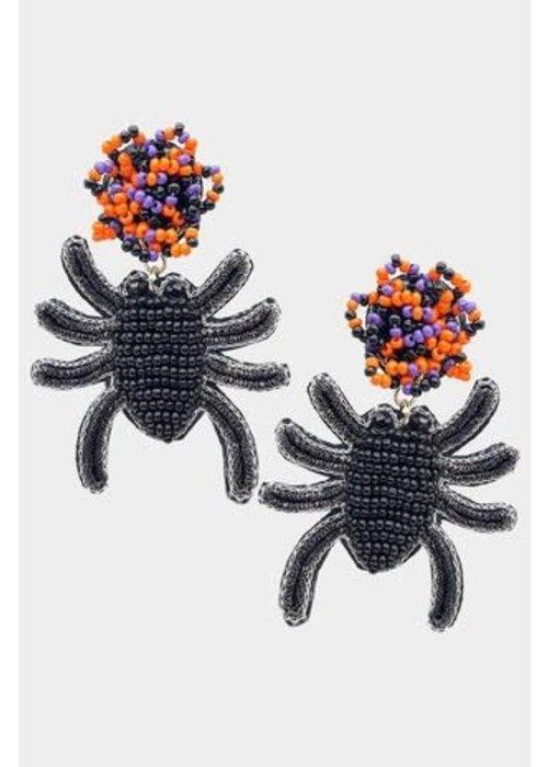 """""""Sassy Spider"""" Beaded Earrings"""