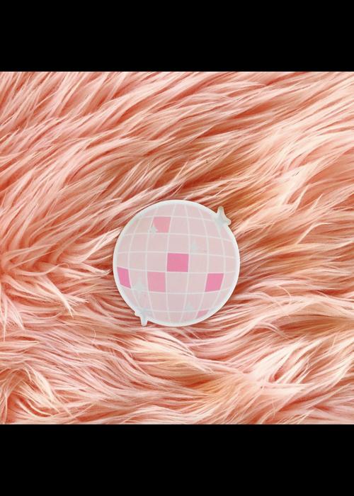 Pink Disco Ball Vinyl Sticker