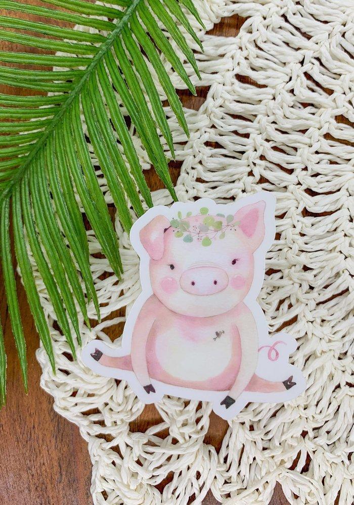 """Pretty in Pink"" Cute Piglet Clear Vinyl Sticker"