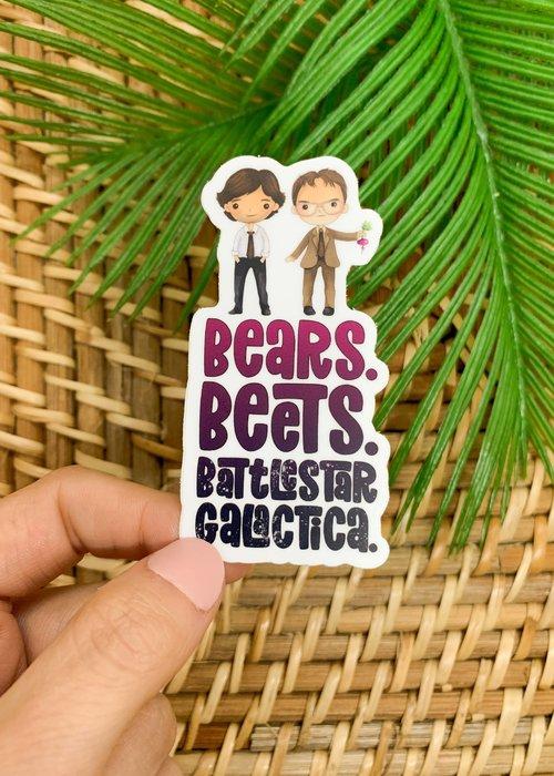 """Bears. Beets. Battlestar Galactca."" The Office Vinyl Sticker"