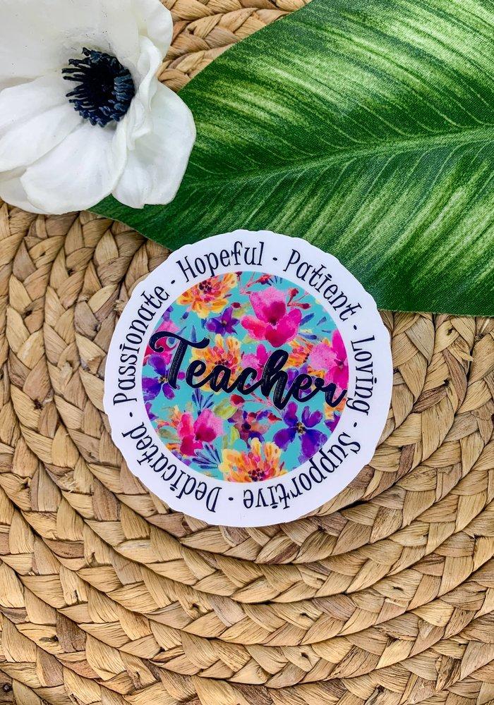 Bright Floral Teacher Clear Vinyl Sticker