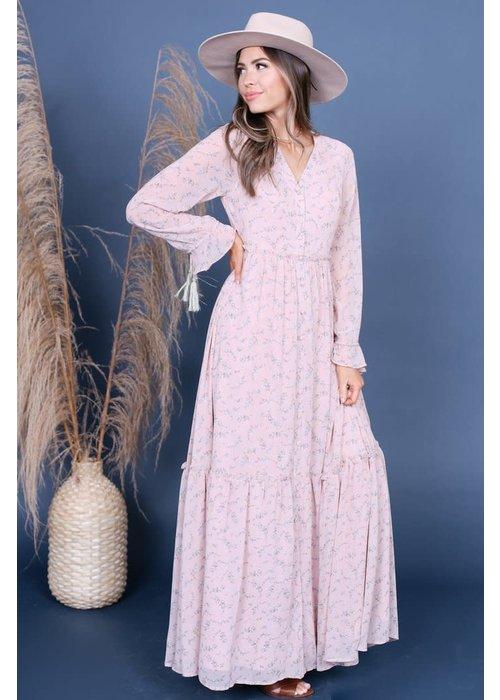 Pale Blush Bouquet Maxi Dress