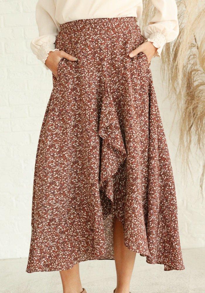 Mahogany Floral Ruffled Midi Skirt