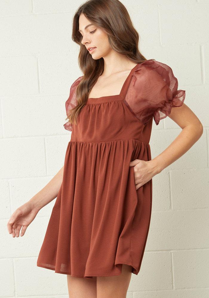 Chocolate Puff Sleeve Mini Dress