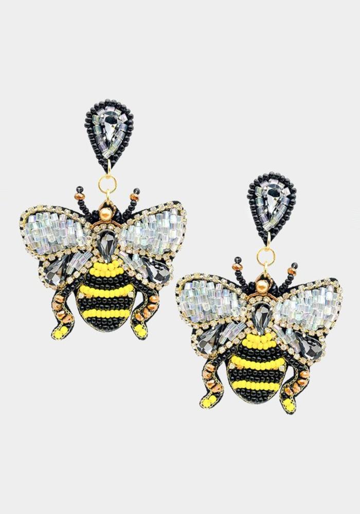 """Oh Honey!"" Beaded Bumble Bee Earrings"