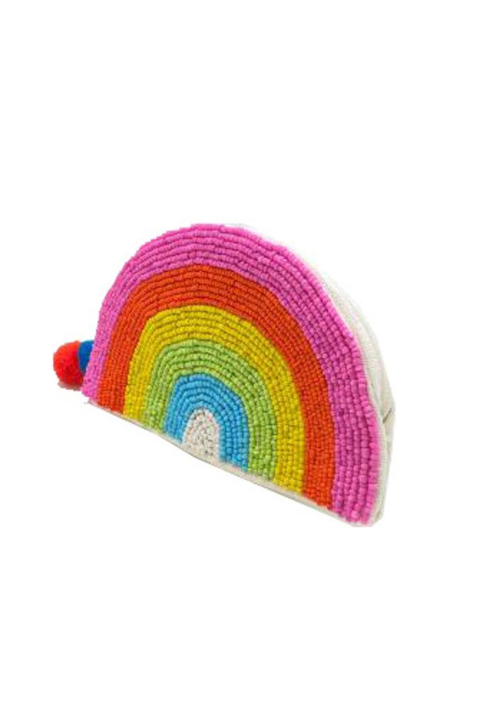 Rainbow Arch Pom Beaded Pouch