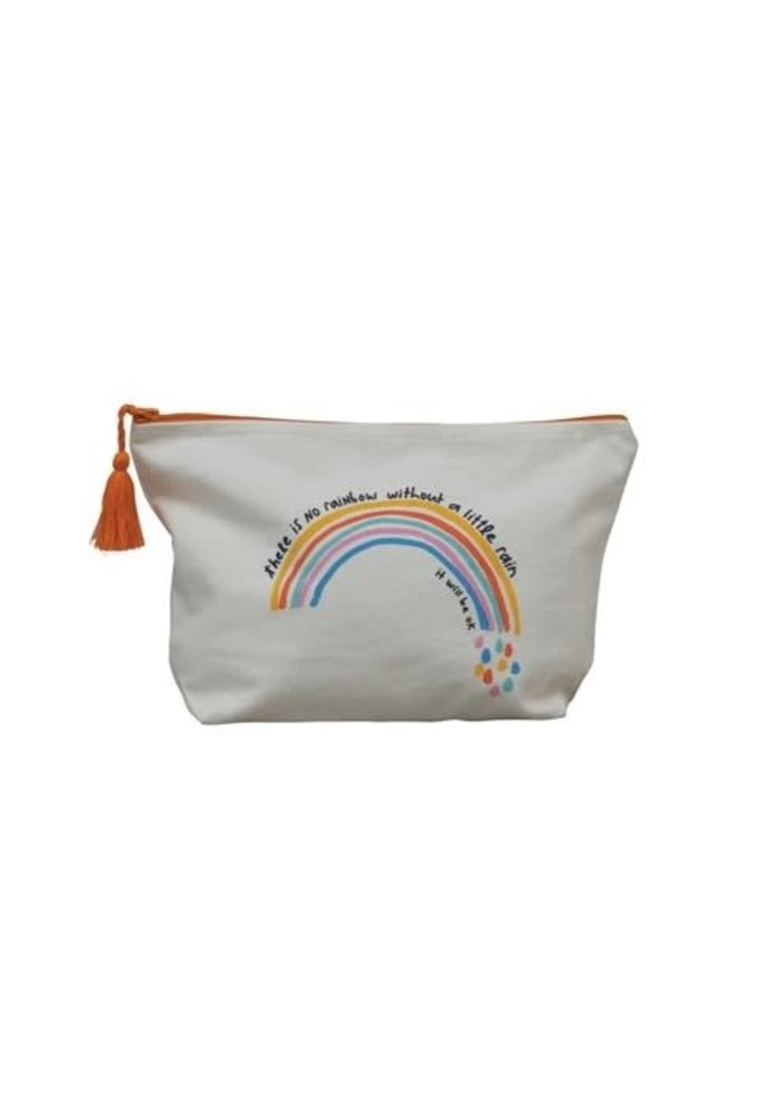 """""""There's No Rainbow Without A Little Rain"""" Motivational Tassel Pouch"""