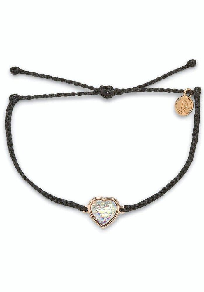 Rose Gold Faceted Mermaid Heart Bracelet