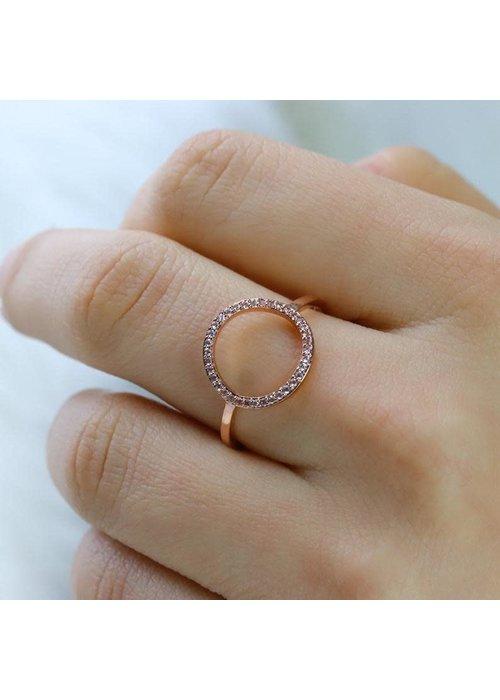 Pura Vida Rose Gold Pave Open Circle Ring