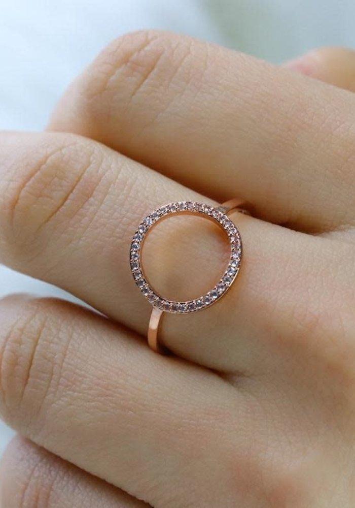 Rose Gold Pave Open Circle Ring
