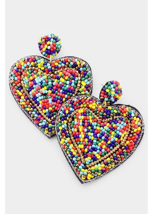 Multi-Color Beaded Heart Earrings