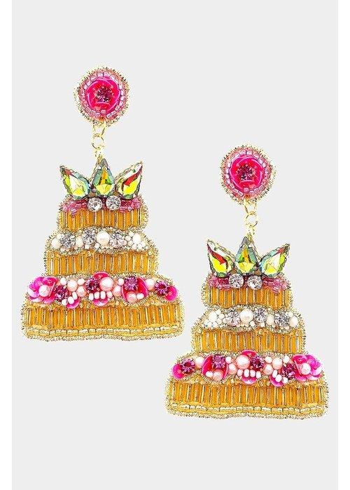"""Let Them Eat Cake"" Jewel Beaded Earrings"