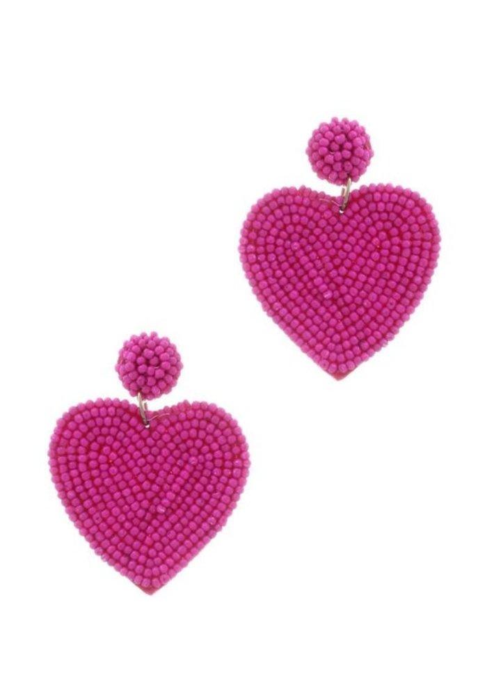 Hot Pink Heart Beaded Earrings