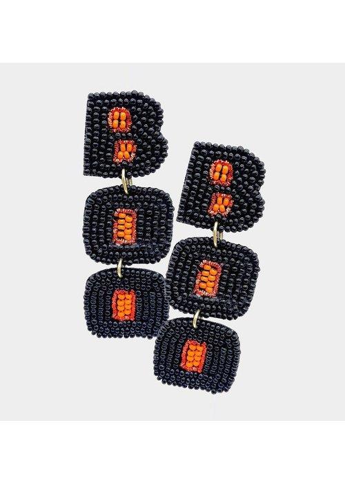 """Boo"" Black Beaded Earrings"