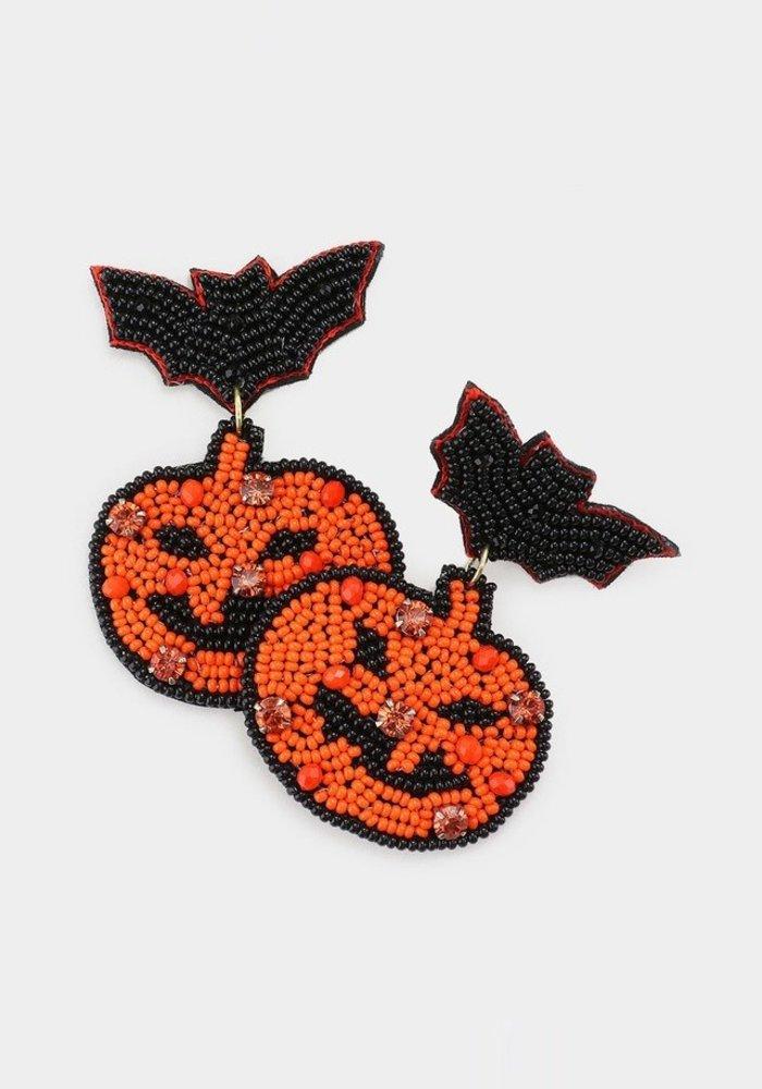 """""""Gone Batty"""" Jack-O-Lantern Beaded Earrings"""