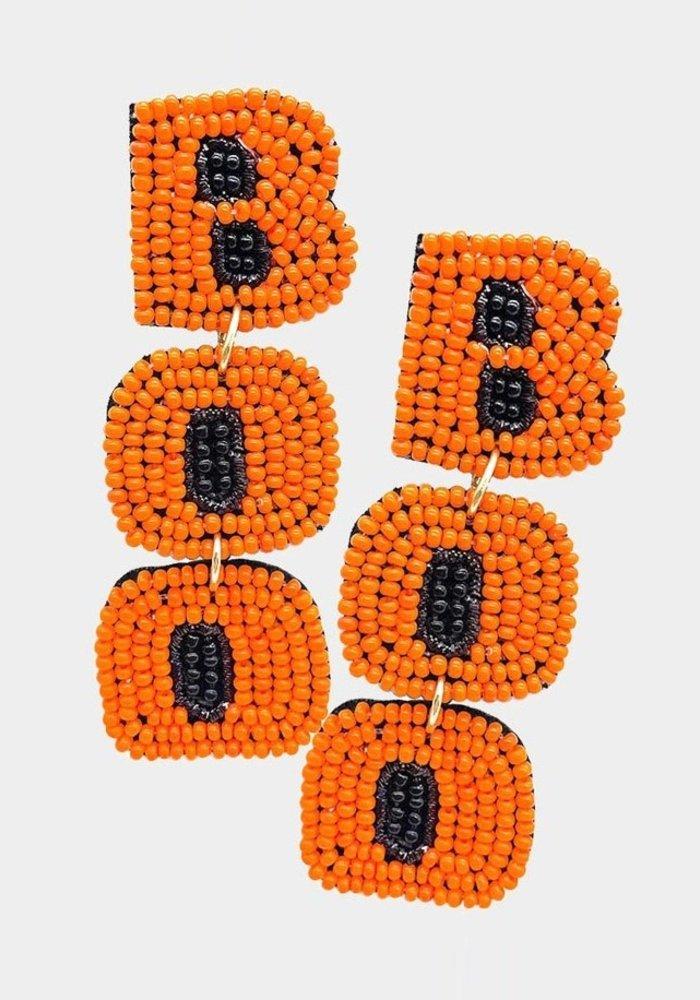 """Boo"" Orange Beaded Earrings"