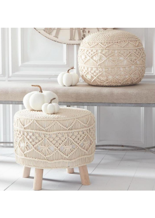 White Knit Stuffed Pumpkins