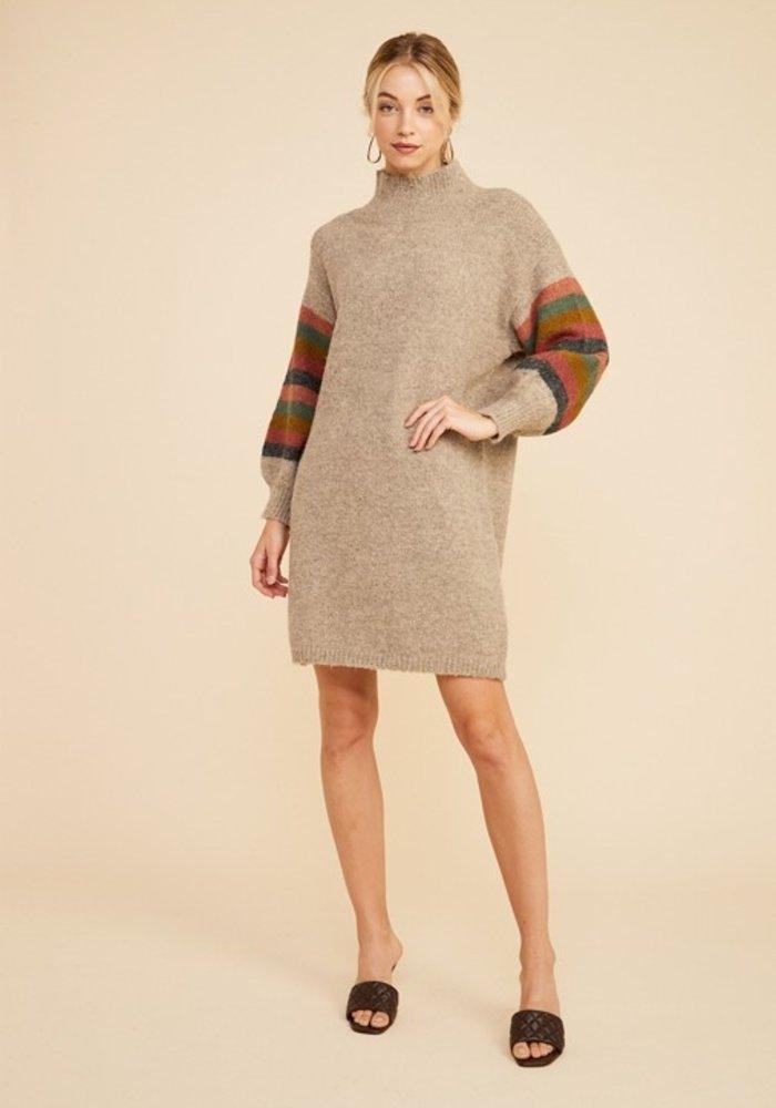 Oatmeal Multi-Stripe Sweater Dress