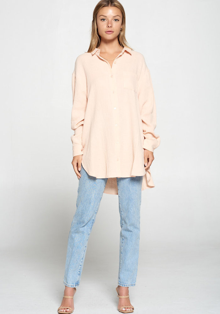Oversized Light Pink Button-Down