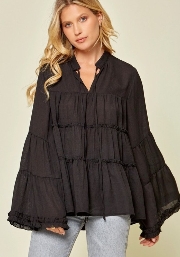 Tiered Long Sleeve Blouse