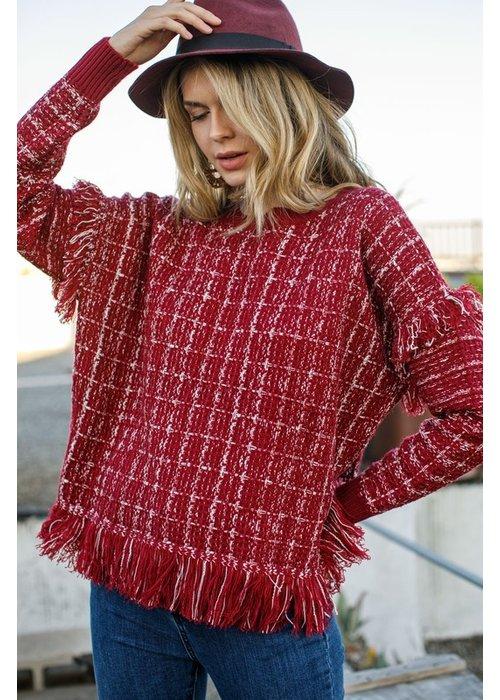 Tweed Fringe Sweater