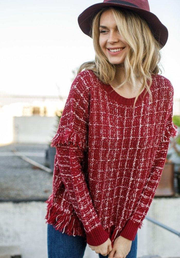 Red Tweed Fringe Sweater