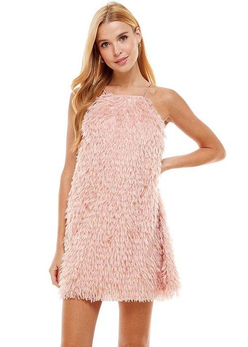 Pink Feather Mini Dress
