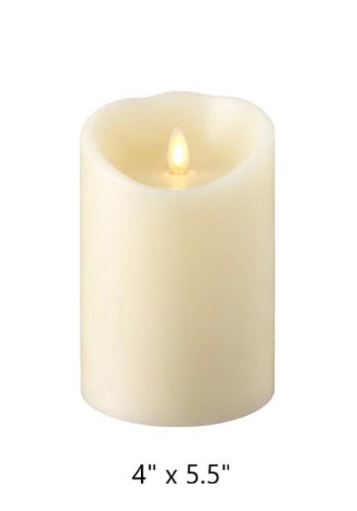 "Ivory Push Flame (4"" Dia.) Pillar Candle"