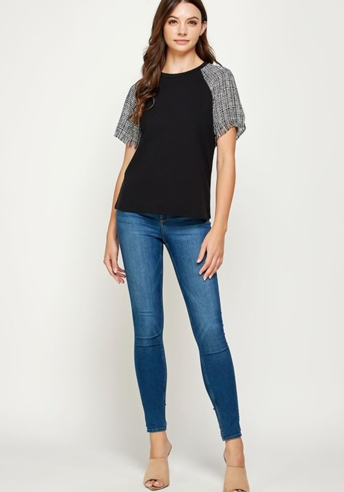 Tweed Short Sleeve Contrast Top