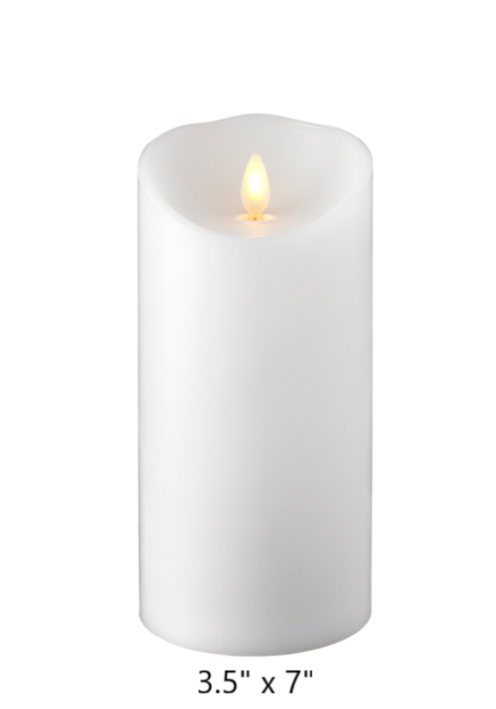 "White Push Flame Pillar Candle (3.5"" Dia.)"