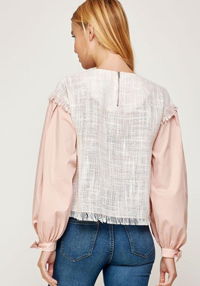 Tweed Long Sleeve Contrast Top