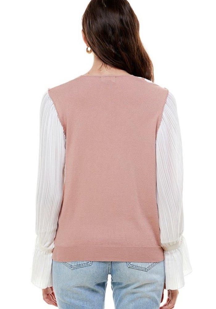Pleated Sleeve Varsity Top