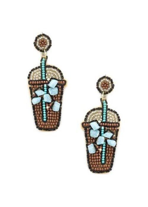 Beaded Iced Coffee Earrings