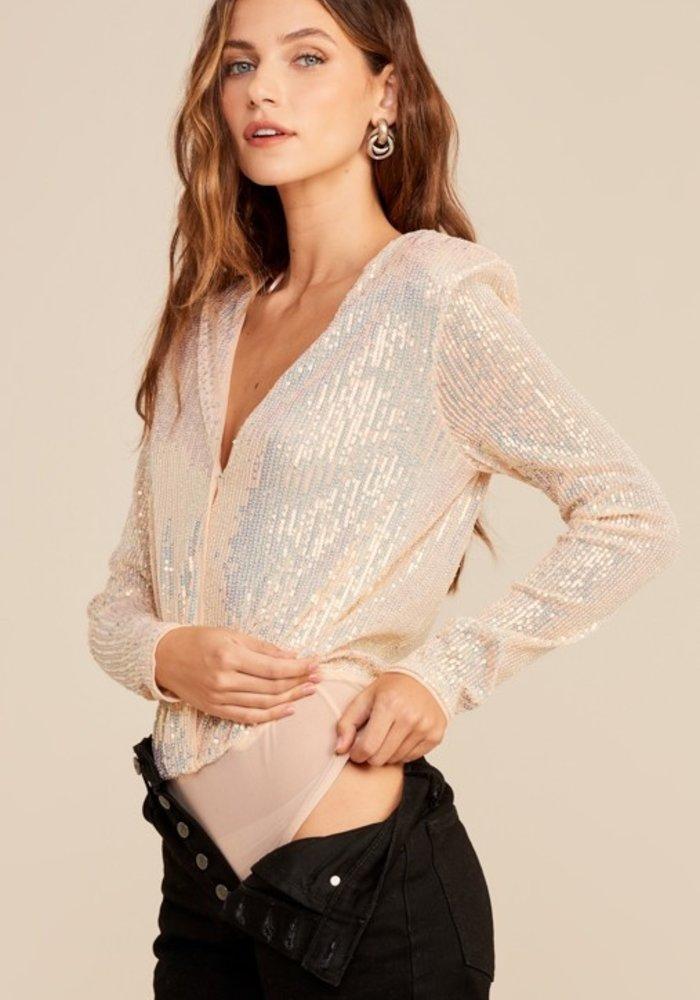 Blush Sequined Bodysuit