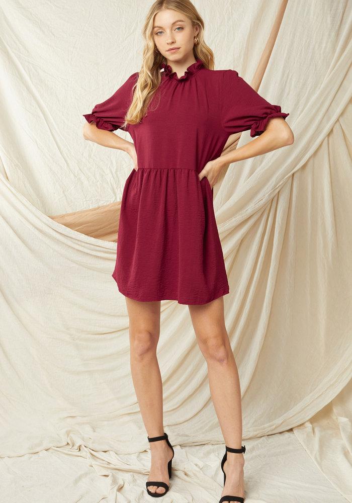 Mock Neck Mini Dress