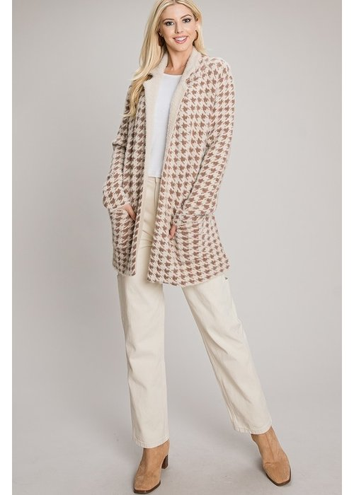 Houndstooth Sweater Jacket