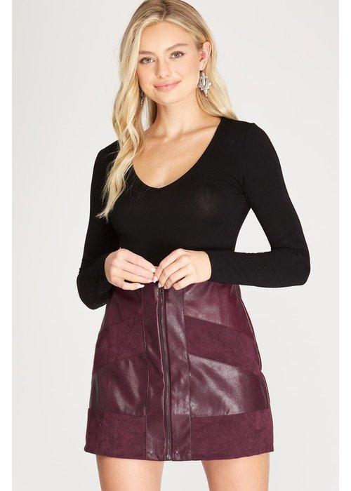 Suede Contrast Mini Skirt