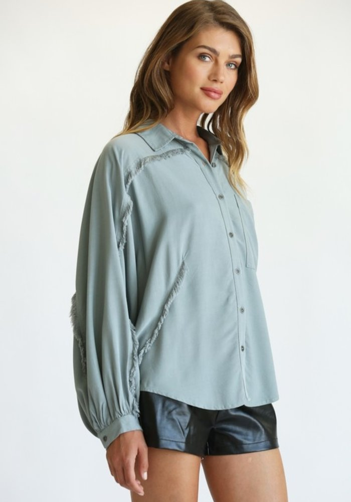Oversized Frayed Button Down