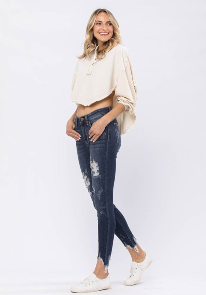 Destroyed Hem Mid Rise Skinny Jean